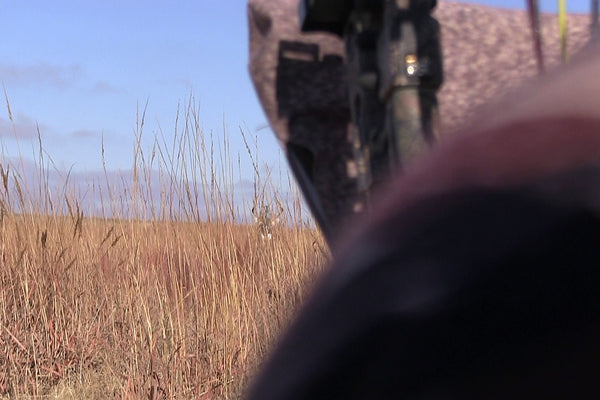 bowhunting whitetails from the ground with heads up decoy