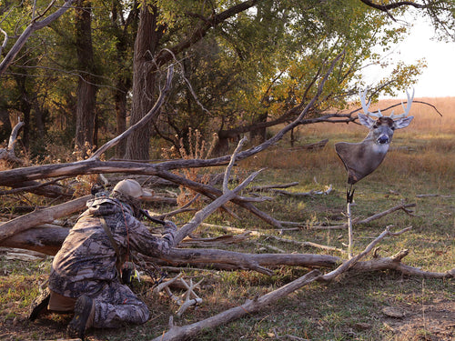 Heads Up Whitetail Buck Decoy for aggressive whitetail rut hunting with a bowe