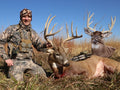 Giant whitetail buck bowhunting with heads up decoy