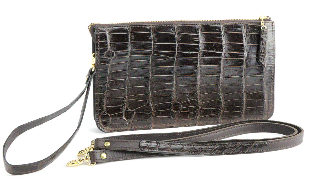 Dark's Leather - Evening Clutch Bag in Alligator Brown, Front View