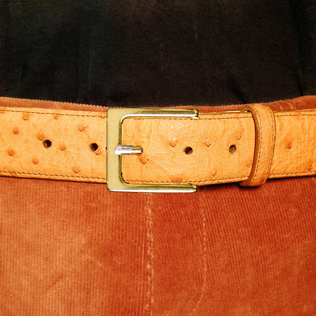 Dark's Leather Ostrich Belt in Cognac