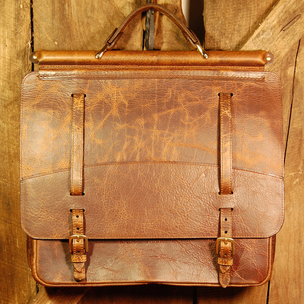 Dark's Leather Briefcase Attaché in Bison Tobacco, Front