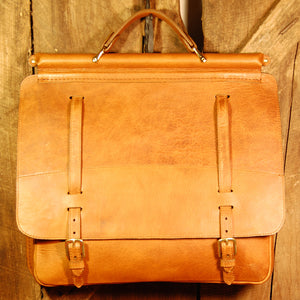 Dark's Leather Briefcase Attaché in Bison Whiskey, Front