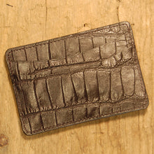 Dark's Leather Business Card Case Small Wallet in Alligator, Black