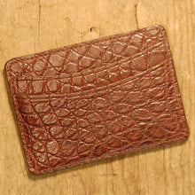 Dark's Leather Business Card Case Small Wallet in Alligator, Brown