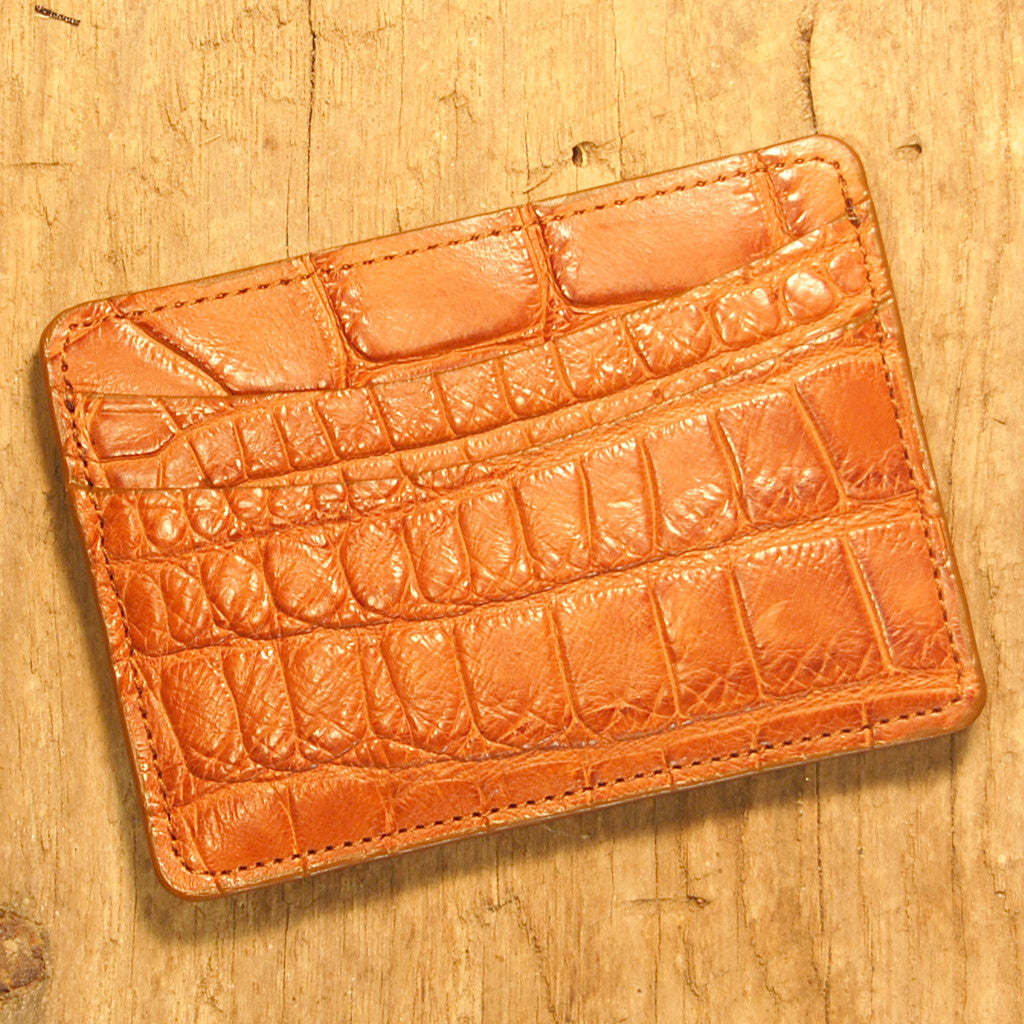Dark's Leather Business Card Case Small Wallet in Alligator, Cognac