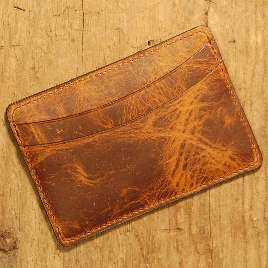 Dark's Leather Business Card Case Small Wallet in Tobacco Bison