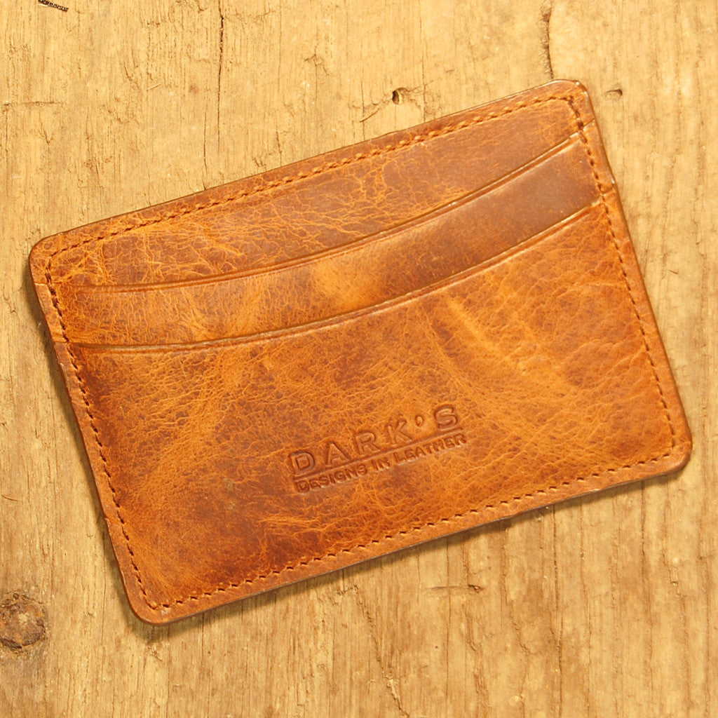 Dark's Leather Business Card Case Small Wallet in Bison Whiskey