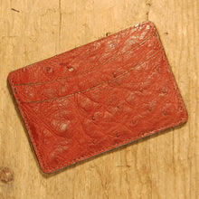 Dark's Leather Business Card Case Small Wallet in Burgundy Ostrich