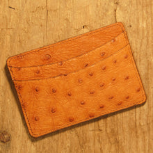 Dark's Leather Business Card Case Small Wallet in Cognac Ostrich