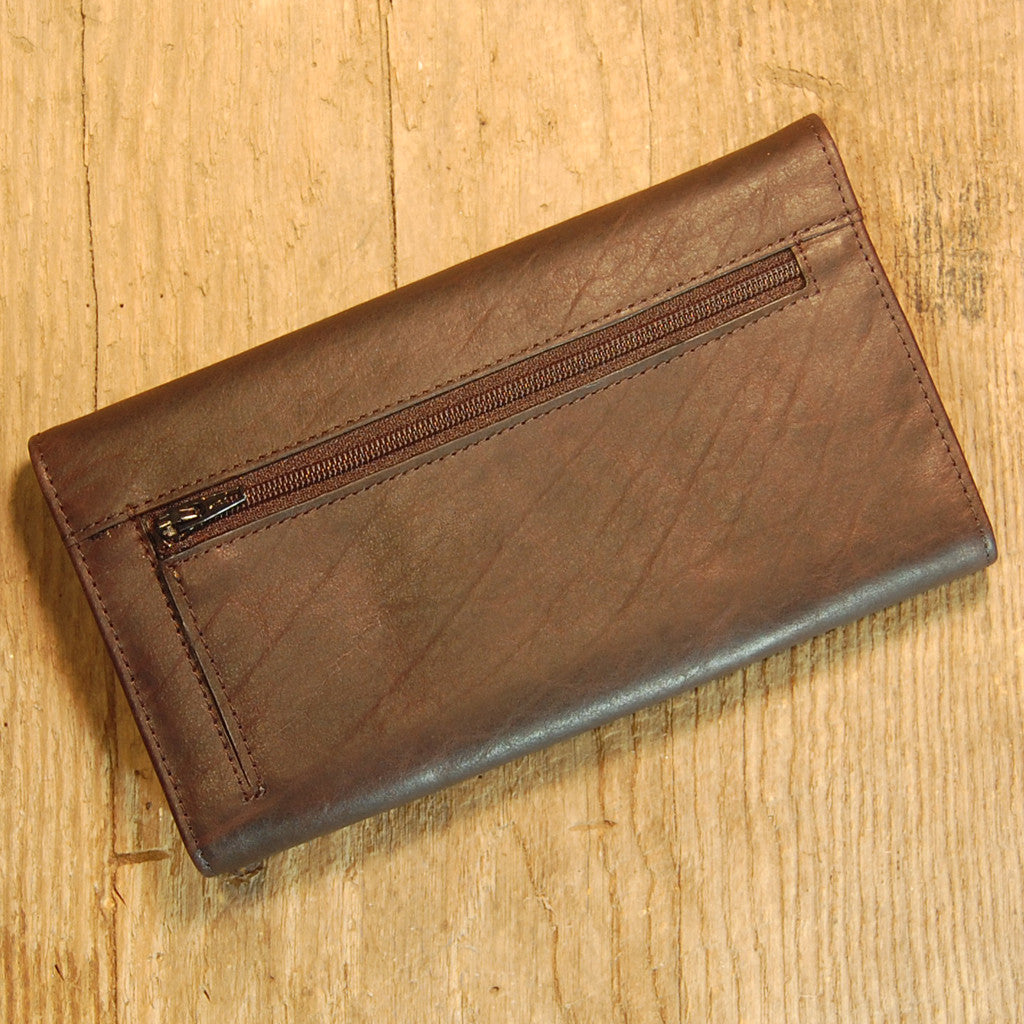 Dark's Leather Checkbook Clutch Wallet in Bison Espresso, Back
