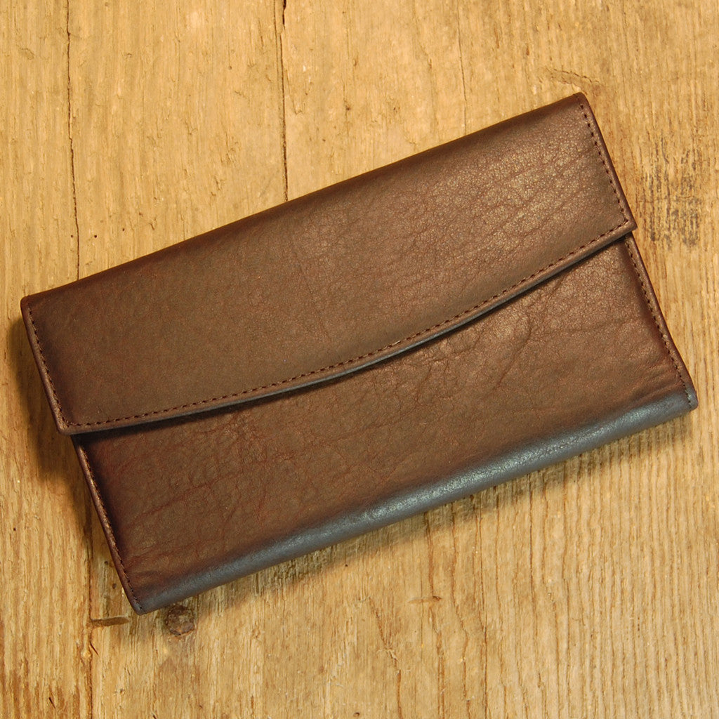 Dark's Leather Checkbook Clutch Wallet in Bison Espresso