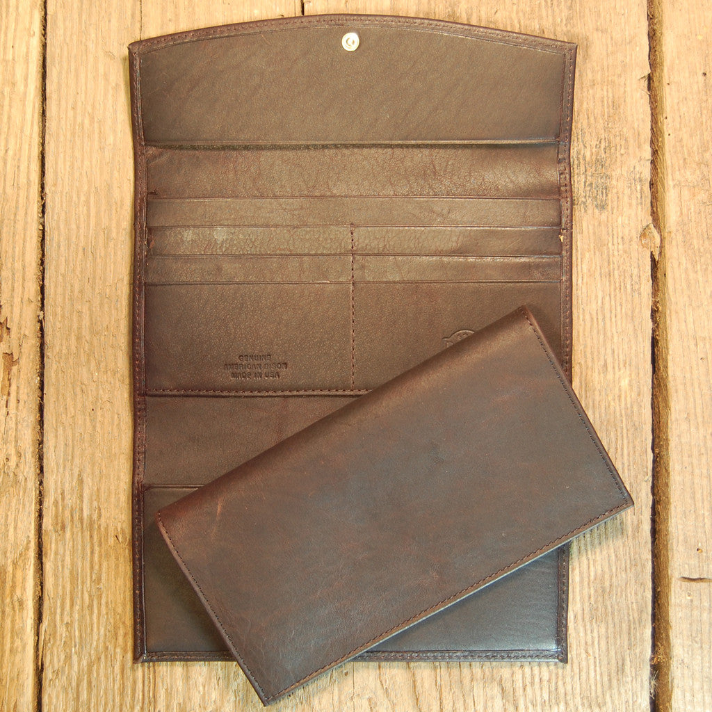 Dark's Leather Checkbook Clutch Wallet in Bison Espresso, Interior
