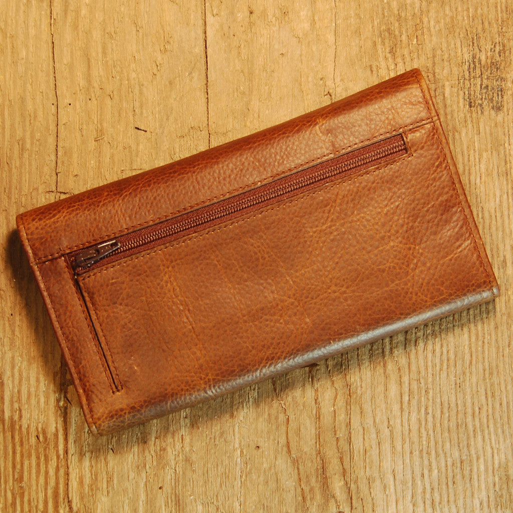 Dark's Leather Checkbook Clutch Wallet in Bison Tobacco, Back