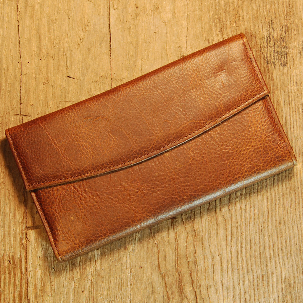 Dark's Leather Checkbook Clutch Wallet in Bison Tobacco