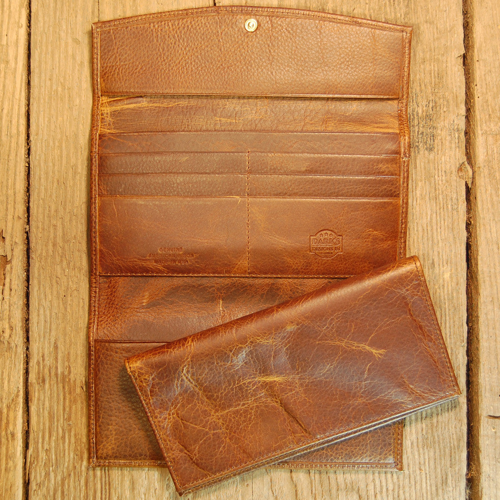 Dark's Leather Checkbook Clutch Wallet in Bison Tobacco, Interior