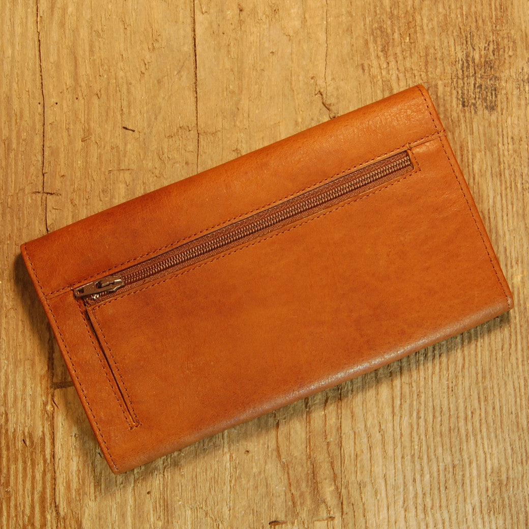 Dark's Leather Checkbook Clutch Wallet in Bison Whiskey, Back