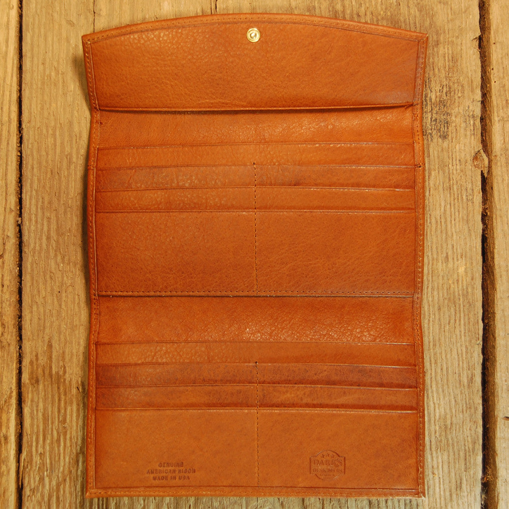 Dark's Leather Checkbook Clutch Wallet in Bison Whiskey, Interior