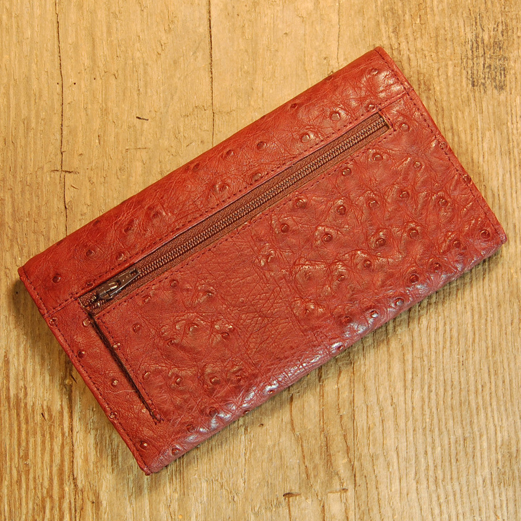 Dark's Leather Checkbook Clutch Wallet in Ostrich Burgundy, Back View