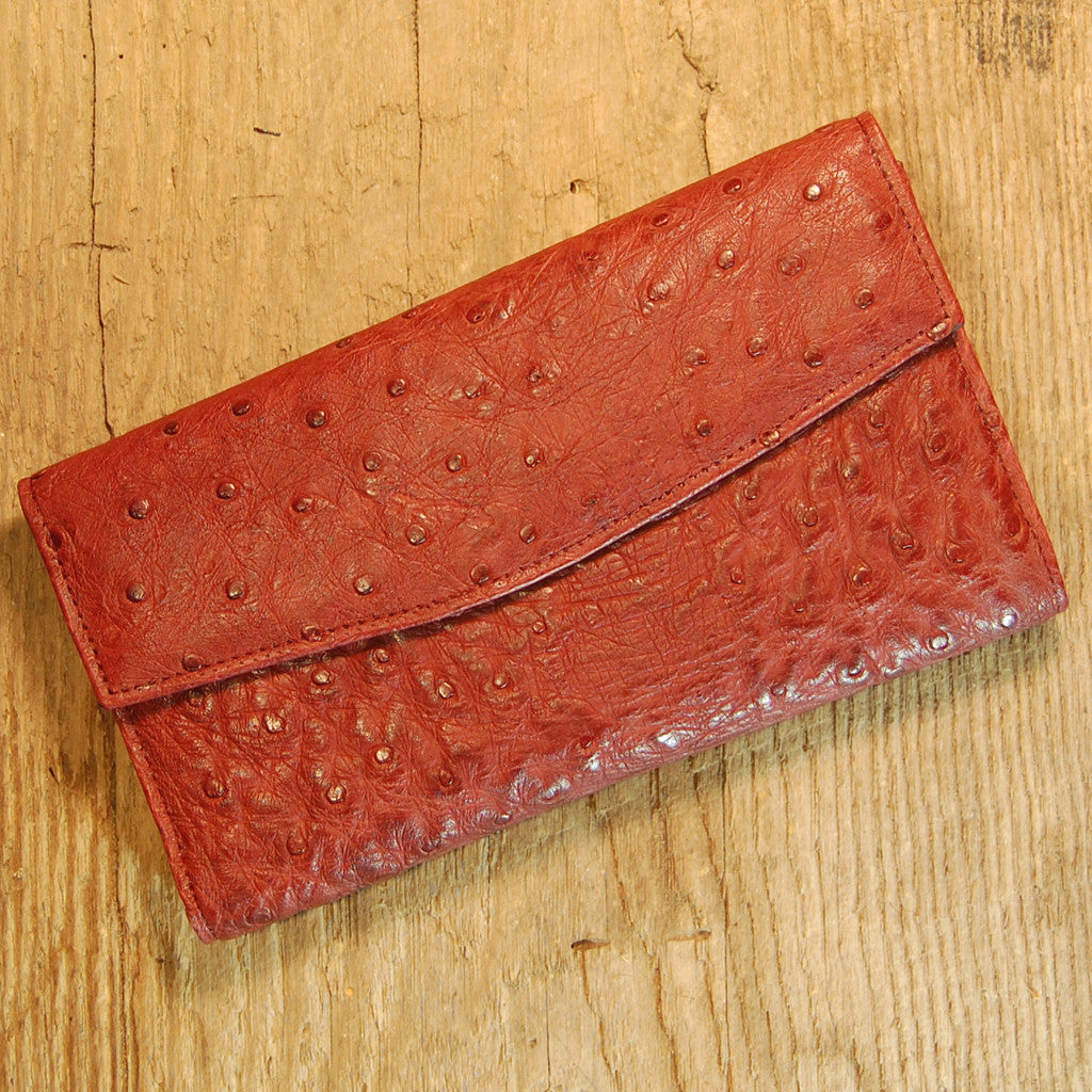Dark's Leather Checkbook Clutch Wallet in Ostrich Burgundy