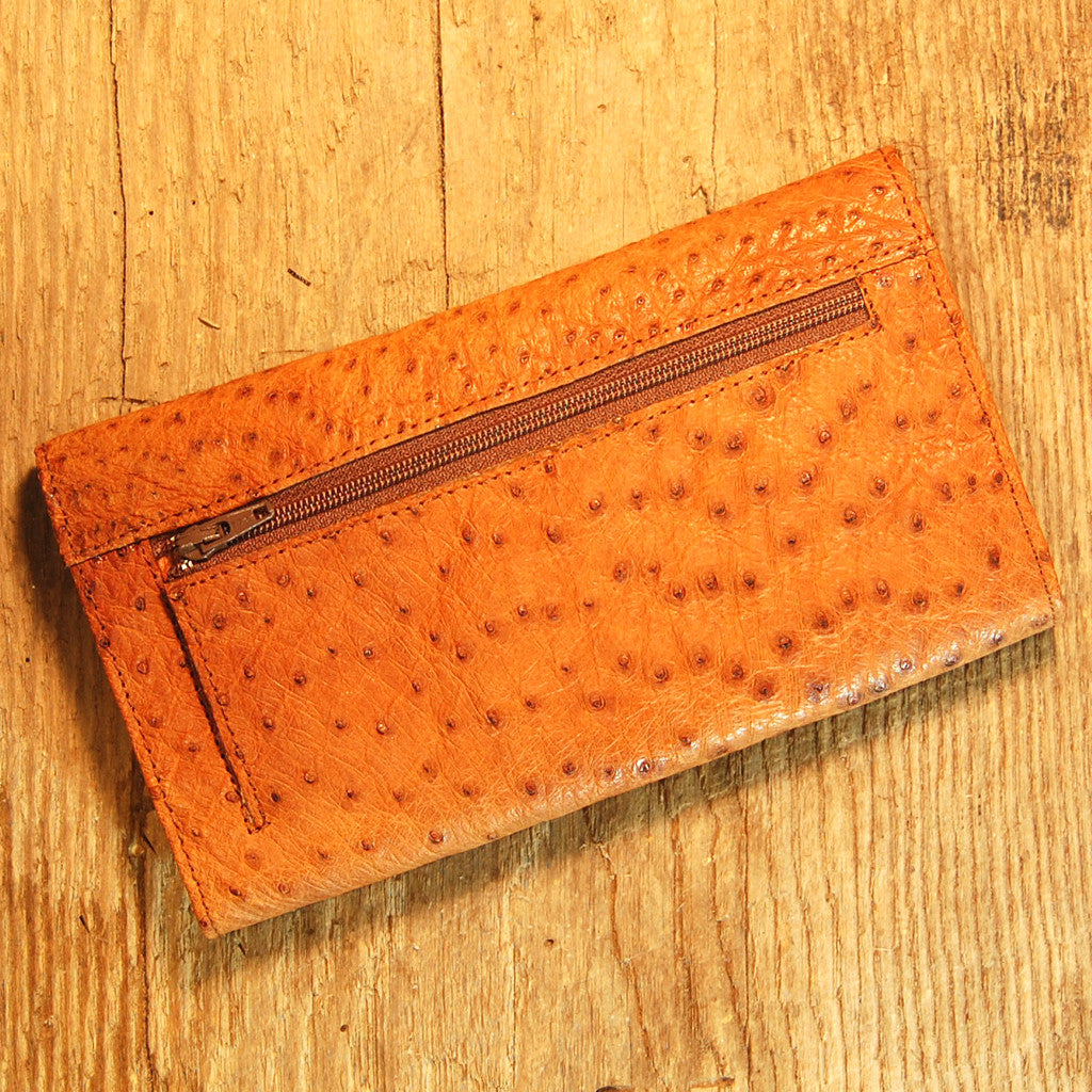 Dark's Leather Checkbook Clutch Wallet in Ostrich Cognac, Back