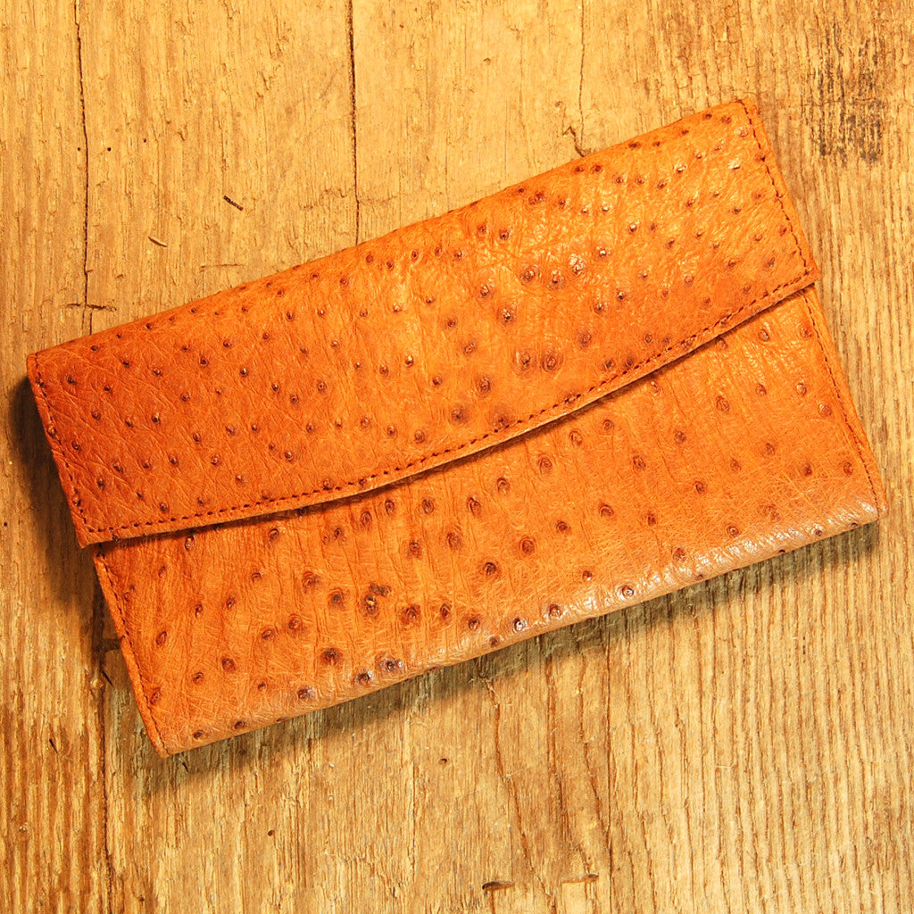 Dark's Leather Checkbook Clutch Wallet in Ostrich Cognac