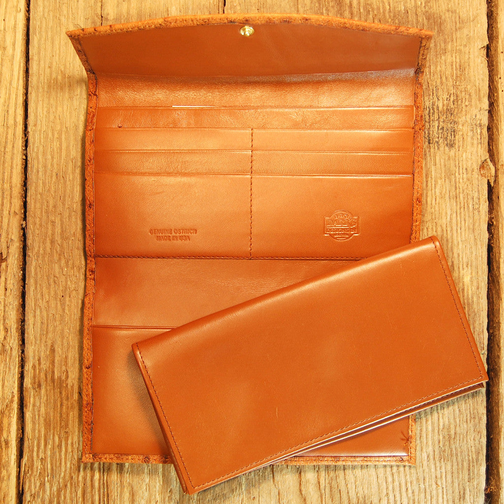 Dark's Leather Checkbook Clutch Wallet in Ostrich Cognac, Interior