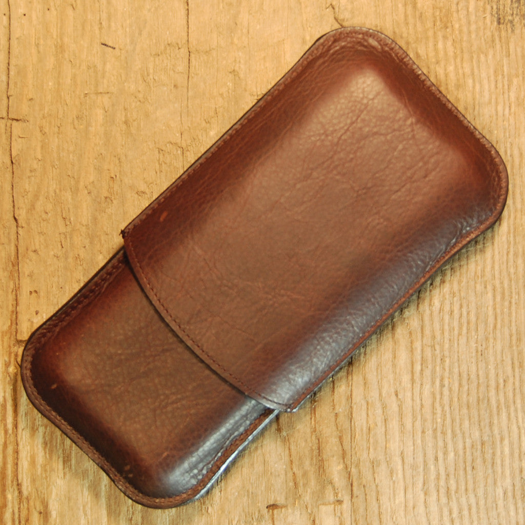 Dark's Leather Cigar Case in Espresso Bison