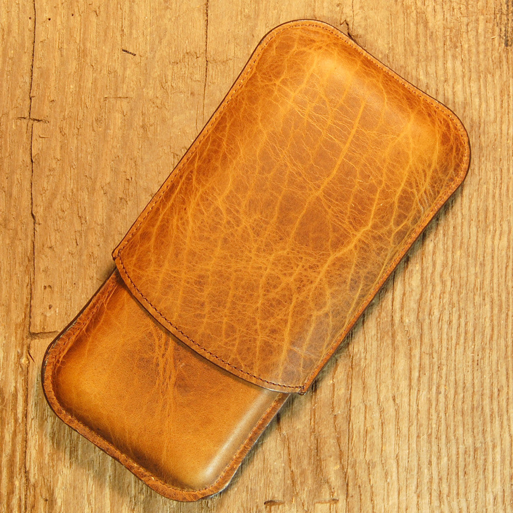 Dark's Leather Cigar Case in Whiskey Bison