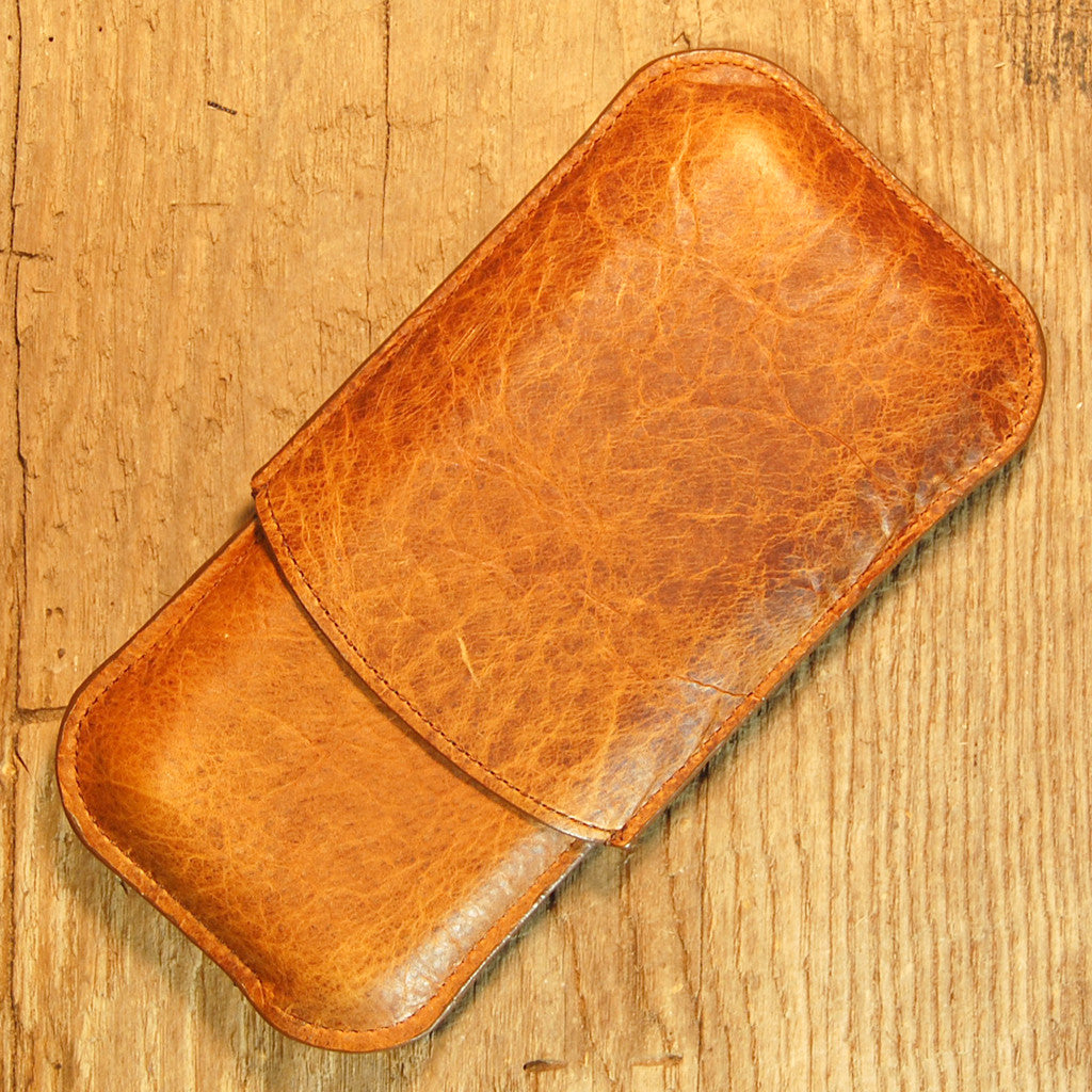 Dark's Leather Cigar Case in Tobacco Bison