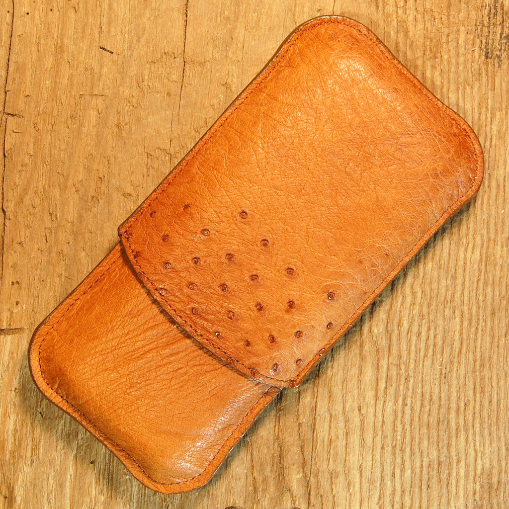 Dark's Leather Cigar Case in Cognac Ostrich