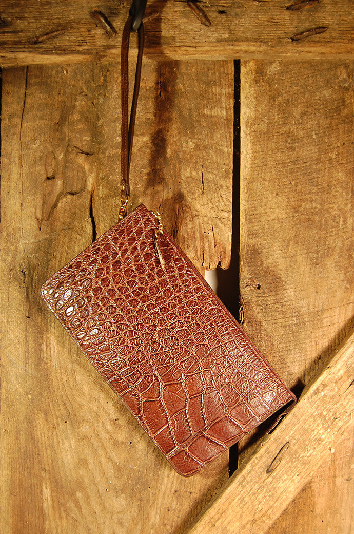 Dark's Leather Clutch Bag in Alligator Brown, Front