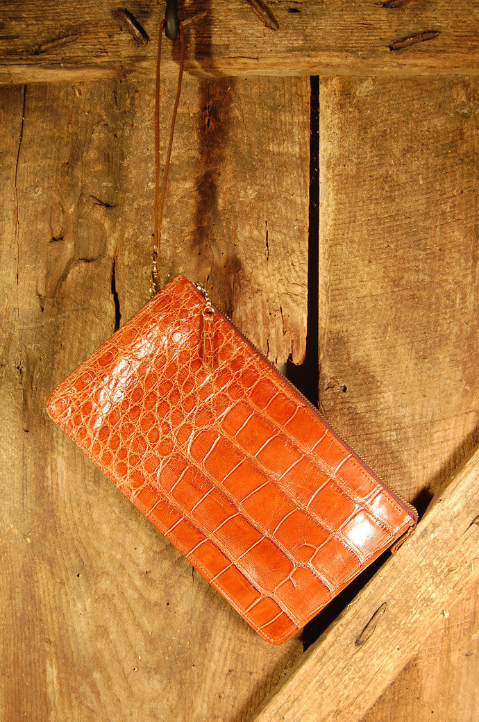 Dark's Leather Clutch Bag in Alligator Cognac, Front