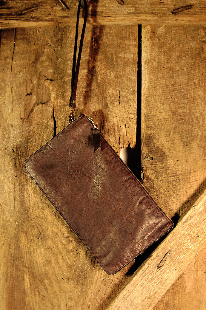 Dark's Leather Clutch Bag in Bison Espresso, Front