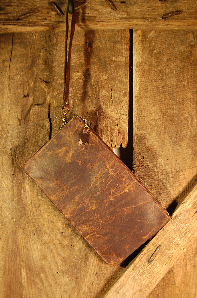 Dark's Leather Clutch Bag in Bison Tobacco, Front