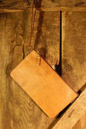 Dark's Leather Clutch Bag in Bison Whiskey, Front