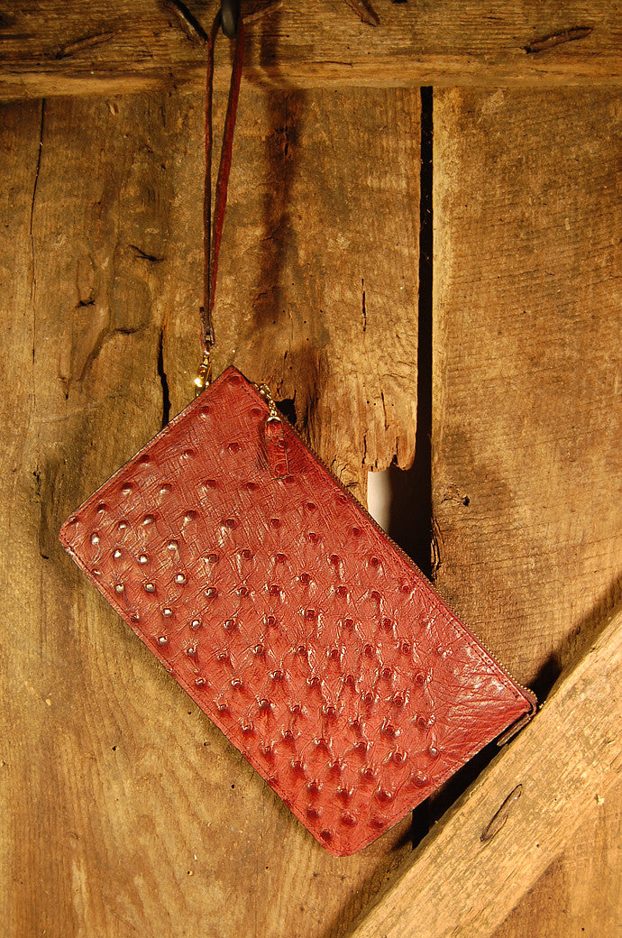 Dark's Leather Clutch Bag in Ostrich Burgundy, Front