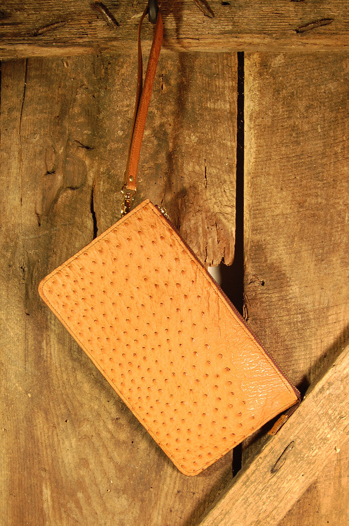 Dark's Leather Clutch Bag in Ostrich Cognac, Front