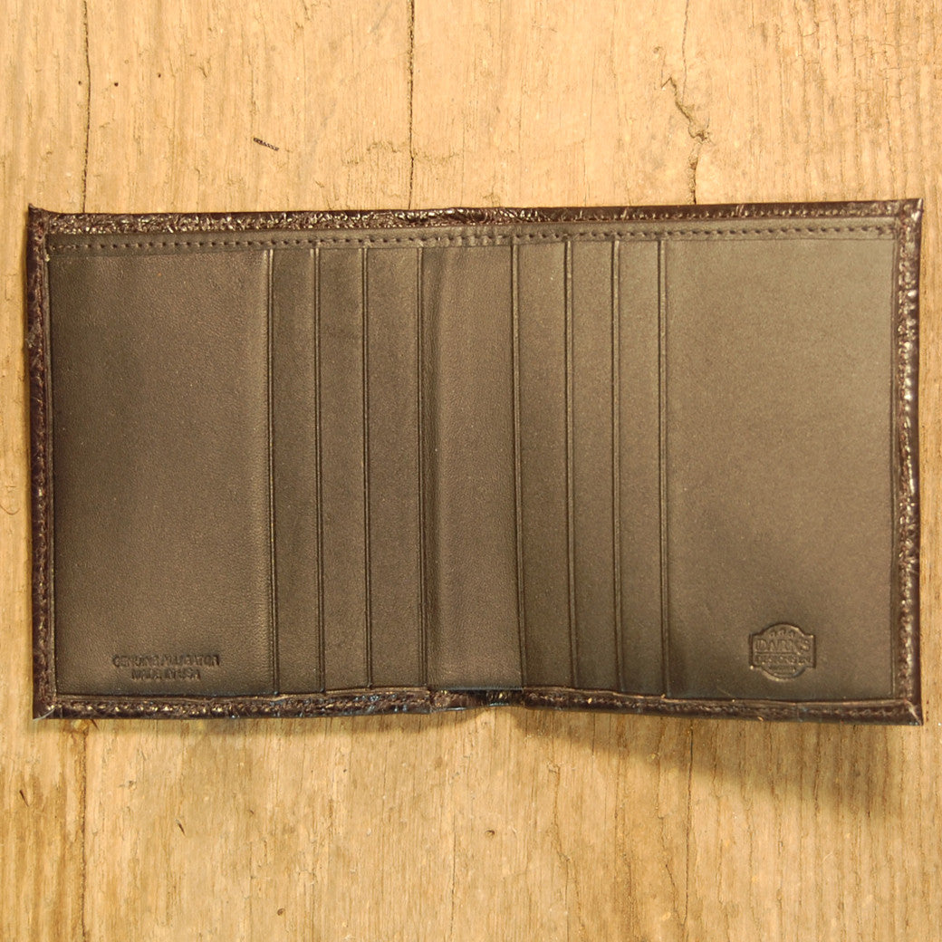Dark's Leather Compact Wallet in Alligator Black, Interior