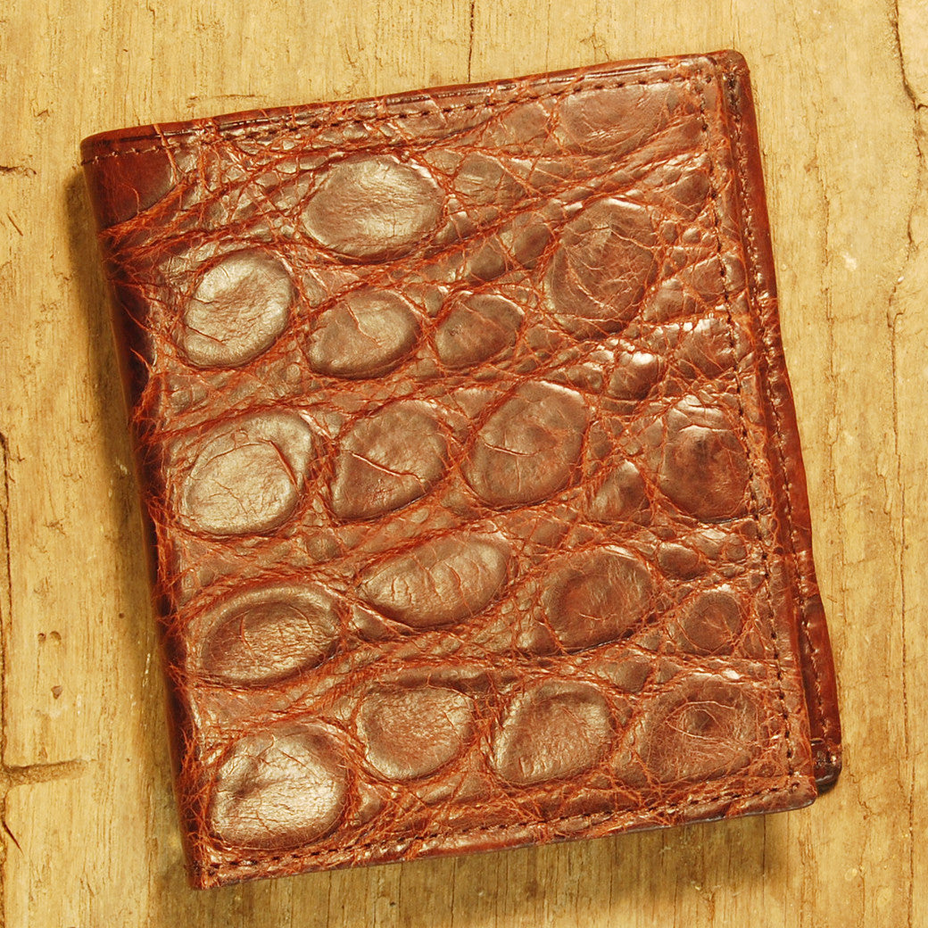 Dark's Leather Compact Wallet in Alligator Brown, Front
