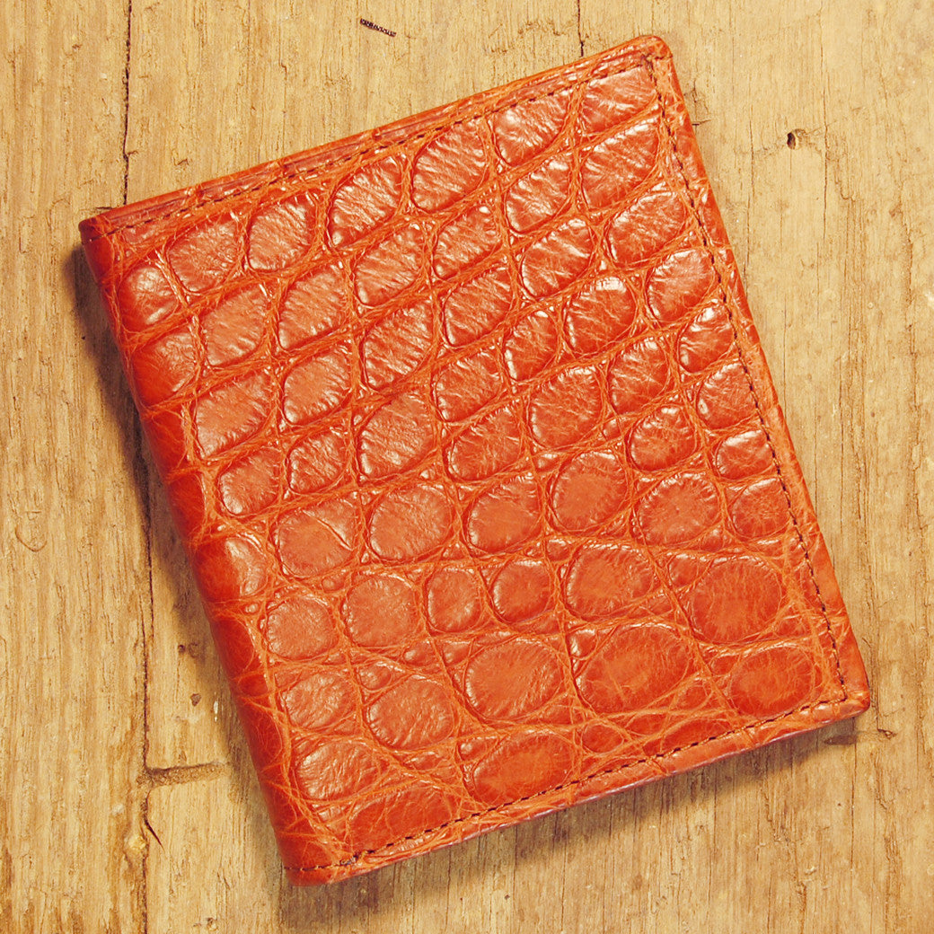 Dark's Leather Compact Wallet in Alligator Cognac, Front