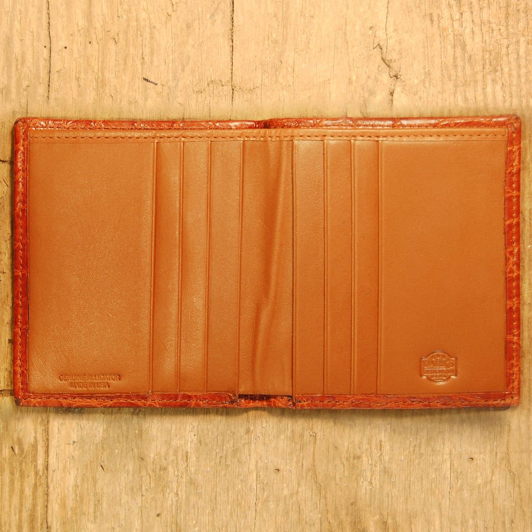 Dark's Leather Compact Wallet in Alligator Cognac, Interior