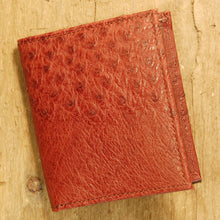 Dark's Leather Compact Wallet in Ostrich Burgundy, Front