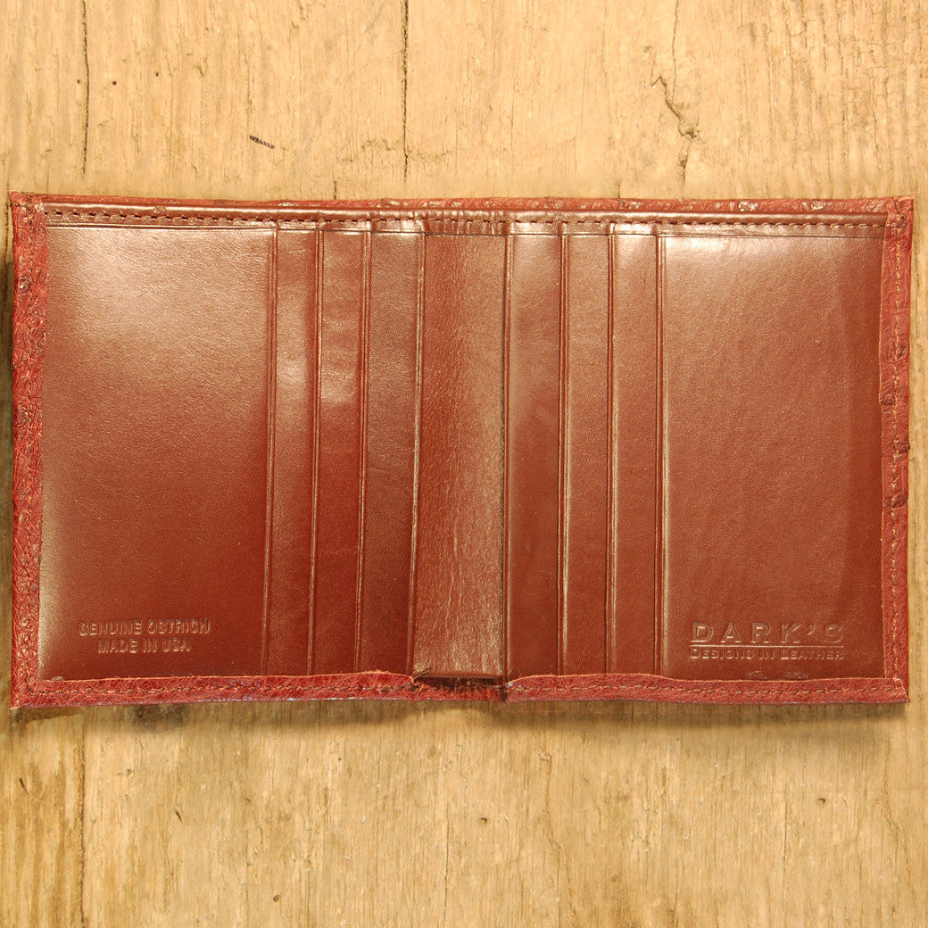 Dark's Leather Compact Wallet in Ostrich Burgundy, Interior