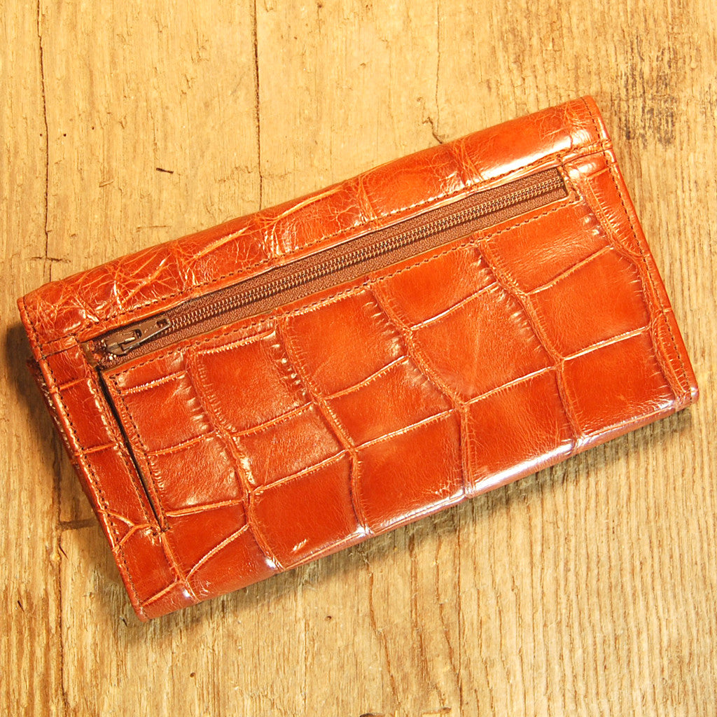 Dark's Leather Credit Card Clutch Wallet in Alligator Cognac, Back