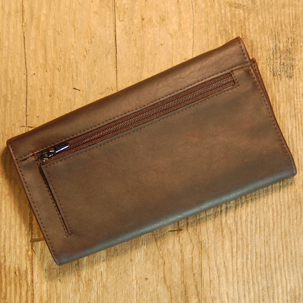 Dark's Leather Credit Card Clutch Wallet in Bison Espresso, Back