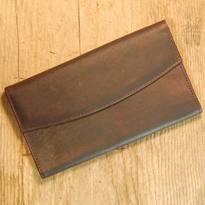 Dark's Leather Credit Card Clutch Wallet in Bison Espresso