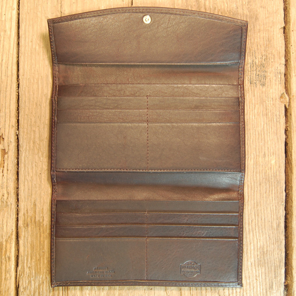 Dark's Leather Credit Card Clutch Wallet in Bison Espresso, Interior