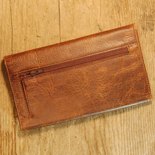 Dark's Leather Credit Card Clutch Wallet in Bison Tobacco, Back