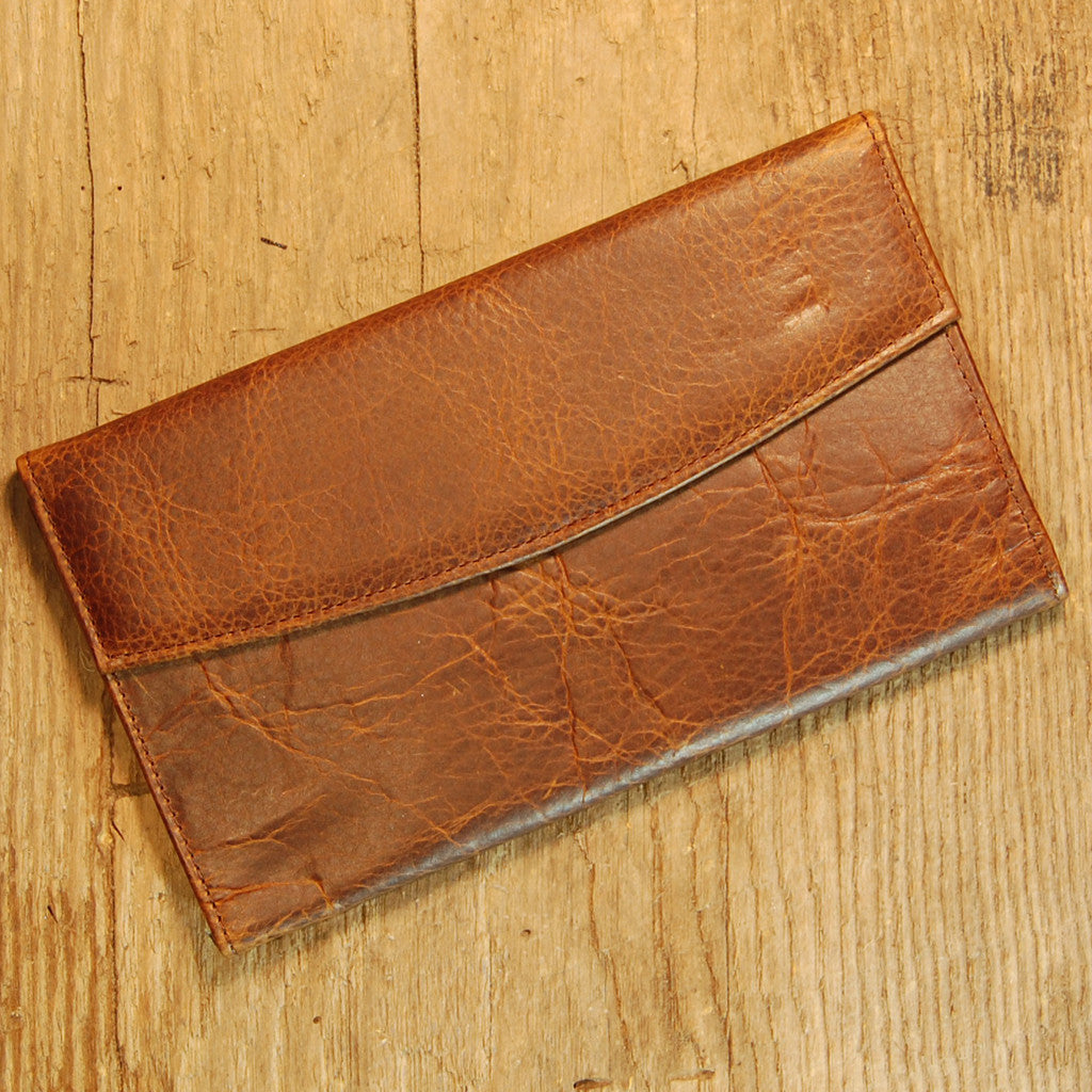 Dark's Leather Credit Card Clutch Wallet in Bison Tobacco